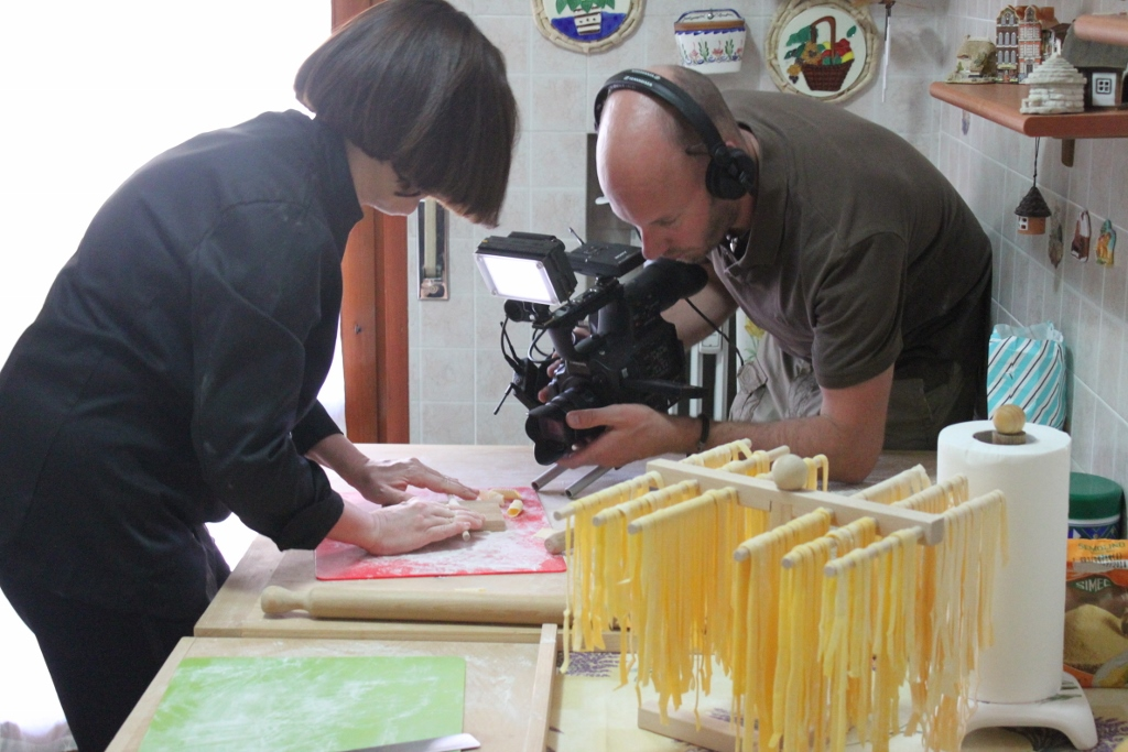 Mama Isa makes fresh pasta and ZDF - German television - filmed a documentary