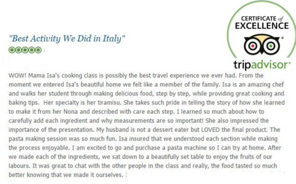 Mama Isa's Cooking School - Certificate of Excellence Tripadvisor Cooking Classes in Venice area