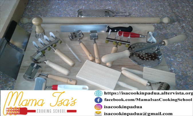 Tools for Making Fresh Pasta in Italy at Mama Isa's Cooking Classes Italy Venice