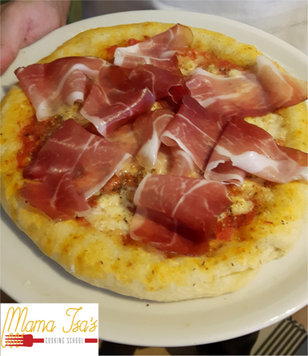 Pizza Prosciutto - Pizza Class at Mama Isa Cooking Classes Italy Venice