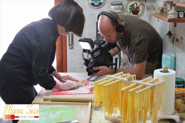 ZDF German television filmed a documentary about the art of pasta making with Mama Isa