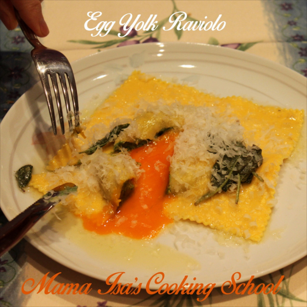 Egg Yolk Raviolo - Mama Isa's Cooking School in Italy near Venice