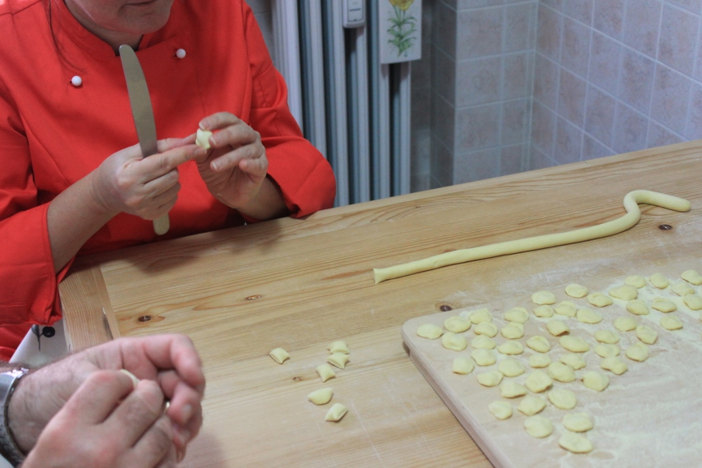 Makin' fresh pasta from scratch Orecchiette at Mama Isa's Cooking School in Italy