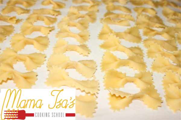 The art of Pasta Making: Bow Tie at Mama Isa's Cooking Classes in Italy near Venice Padova