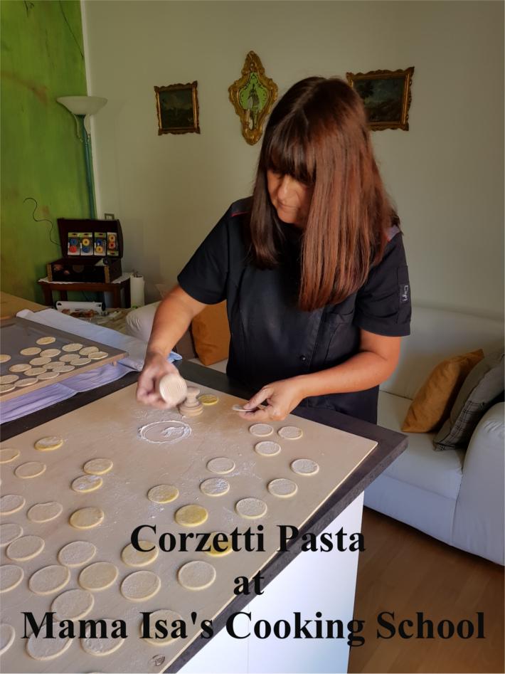 Chef Isa makes corzetti pasta by hand